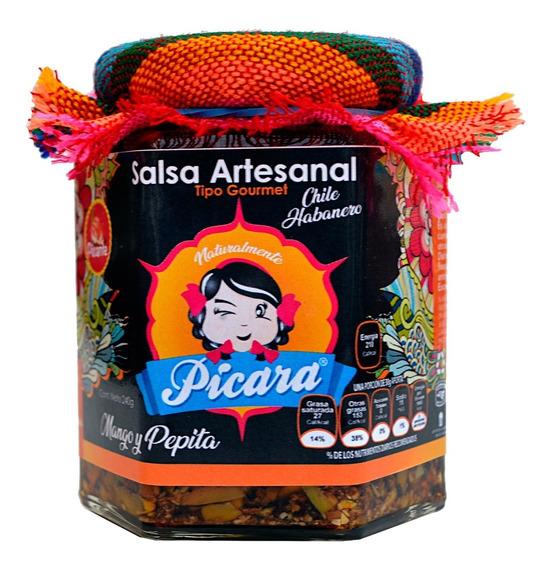Salsa Artesanal Gourmet Mango Y Pepita Con Habanero Picante