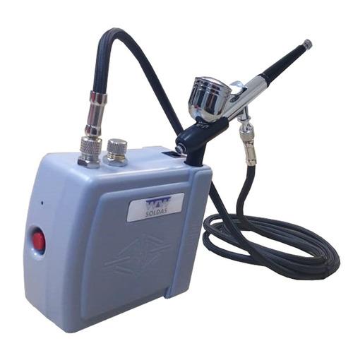 Aerografo Completo Mini Compressor Ar + Aerógrafo 0,3mm