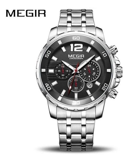 Relógio Megir 2068 Prata/preto Cronógrafo A Prova D Água