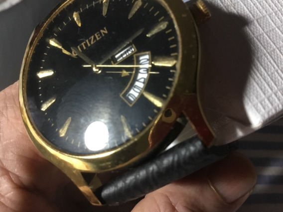 Relógio Citizen, Dourado, Pulseira Preta, Calendário Triplo