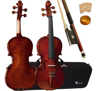 Violino Ve431 3/4 Tampo Em Abeto Envernizado Eagle + Estojo