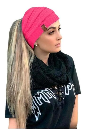 Touca Gorro De Lã Com Furo Para Rabo Cavalo Feminina