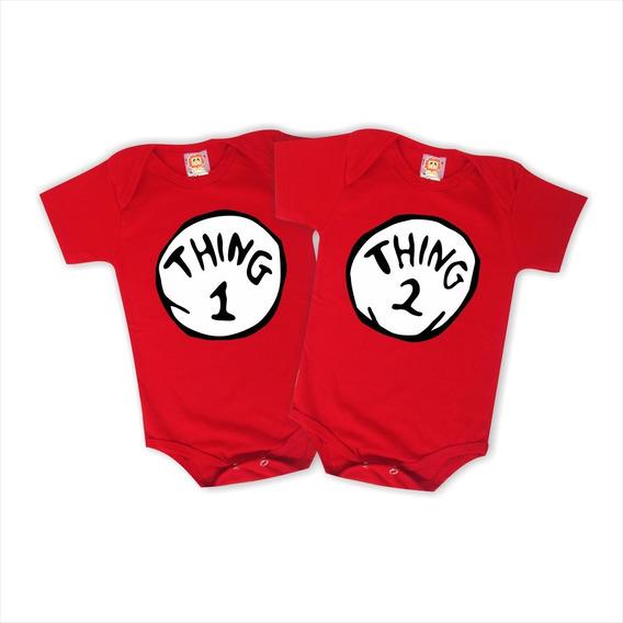 Bodys De Bebê Gêmeos Thing 1 Thing 2 - Coisa 1 Coisa 2