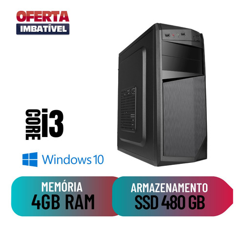Computador Cpu Desktop Pc Core I3 4gb Ram 480gb De Ssd Win10
