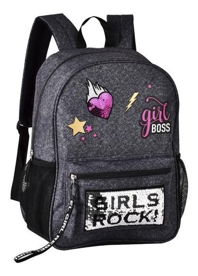 Mochila Jeans Paete Girls Boss Rock Original Clio Style