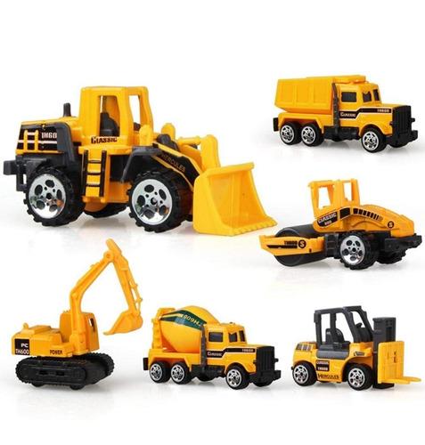Kit 6 Tratores E Caminhões De Construção Die Cast Metal