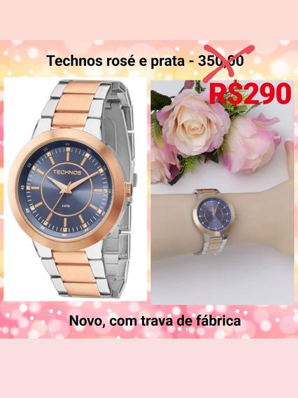 Relógio Technos Rosé E Prata Novo Lacrado