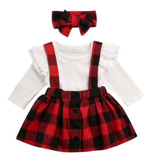 Vestido Conjunto Rojo Cuadros 3pz Bebe Niña Manga Larga