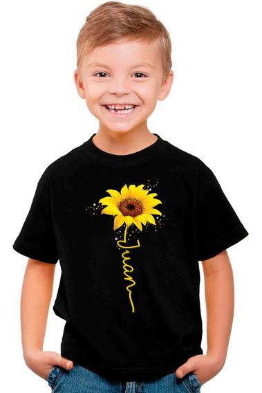 Playera Personalizada Con Tu Nombre Girasol Hermoso Flor Sunflower Niño Y Adulto