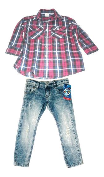 Conjunto Vaquero Bebé Niño Camisa Y Pantalón Talla 4 $490a
