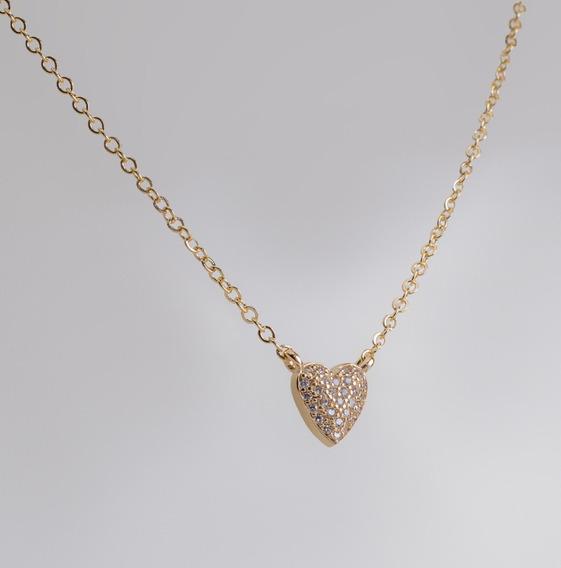 Colar Folheado Ouro 18k Microzircônias Gargantilha Coração