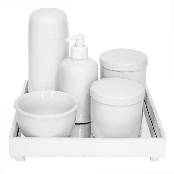 Kit Higiene Bebê Completo Porcelana Térmica Bandeja Branco