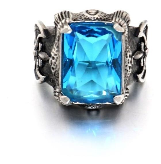 Anel Gótico Azul-celeste Aço 316l
