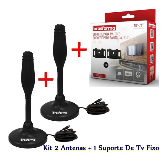 Antena De Tv Digital 2 Uni + 1 X Suporte Tv Fixo 10-71 - Kit