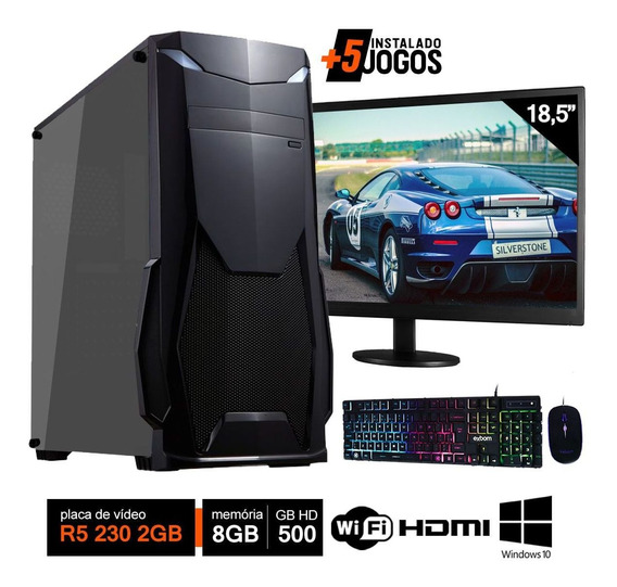Pc Gamer Completo Intel 8gb Hd 500gb R5 230 2gb Wifi Hdmi Win10 C/ Monitor