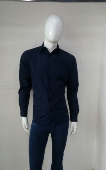 Bonita Camisa Slim Fit Azul Marino Manga Larga
