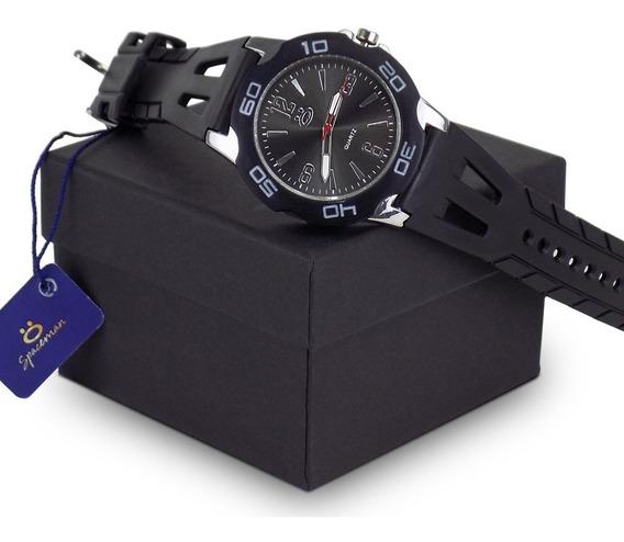 Relógio Masculino Original Silicone Preto + Caixa N/fiscal