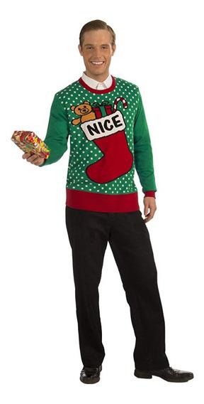 Suéter Navidad Xmas Ugly Sweater Hombre Mediano Nice
