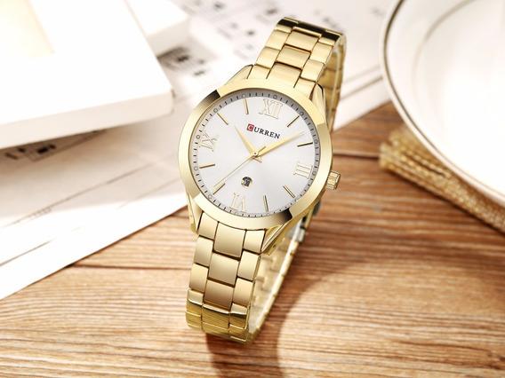 Relógio Feminino Pulso Dourado M. Curren Pulseira Metálica