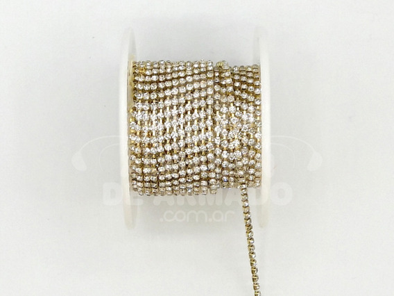 Rollo Strass Base Dorado 2 Mm X 10 Yardas Bijou Costura