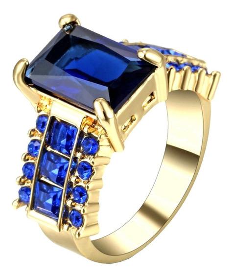 Anel Feminino Cravejado Safira Azul Com 3 Banhos Ouro 18k 31