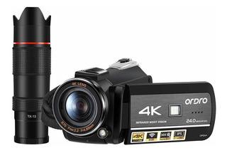 Cámara Ordro 4k Ultra Hd Videocámara Wi-fi Vídeo Con El Tele