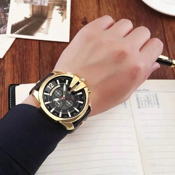 Relógio Masculino Curren Pulseira Em Couro - Original