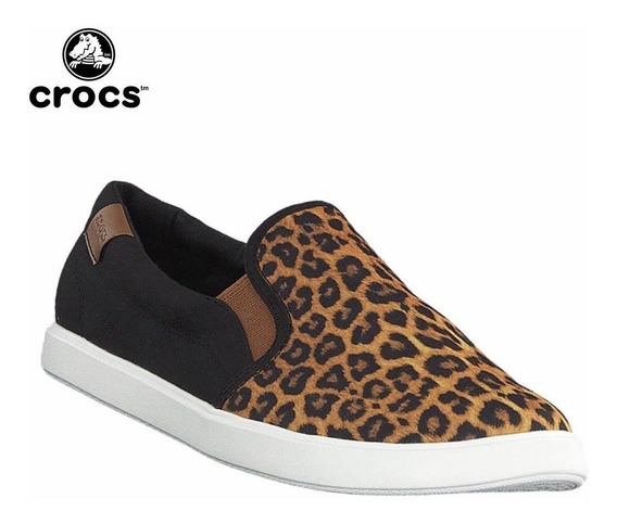 Crocs Originales Citilane Slip-on Sneaker W Leopardo Y Negro