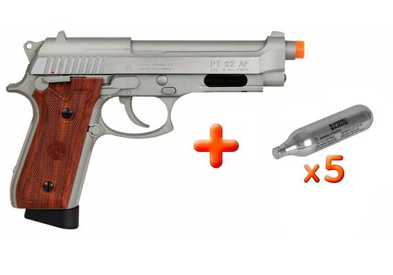 Pistola Airsoft Pt92 Silver Full Metal Blowback + Brinde