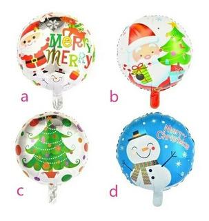 12 Globos Metalizados Con Motivos De Navidad O Navideños