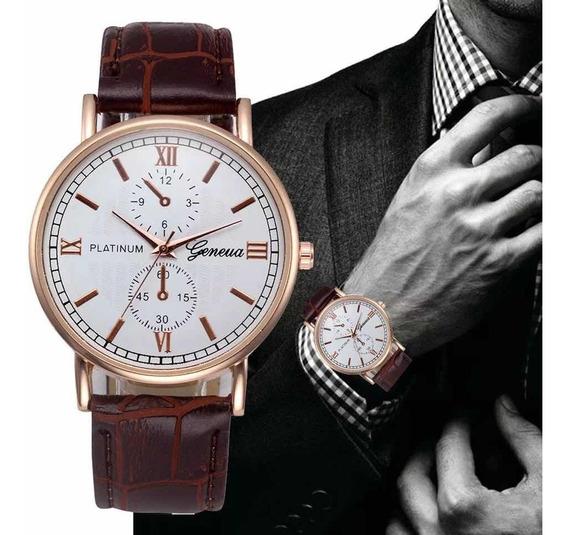 Relógio Social Geneva Pulseira Couro Luxo Marrom