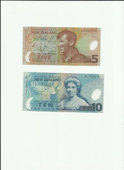 Set De Cédulas Da Nova Zelândia 5 E 10 Dollares