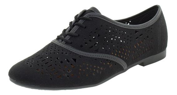 Sapato Feminino Oxford Beira Rio - 4150201 Preto/camurça