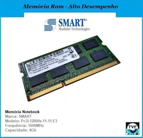 Memória Ram Notebook Smart 4gb Ddr3l 1600mhz Pc3l-12800s-11-11-f3 2rx8