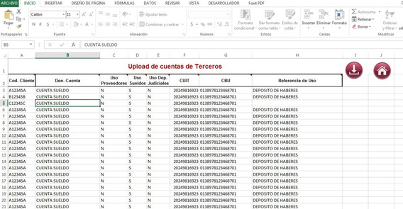 Generador Arch. Interbanking - Upload Ctas. De Terceros S/em