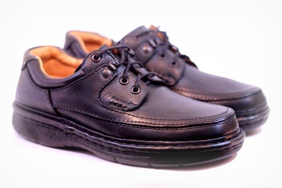 Zapatos Febo Super Confort R7 Hombre Goma Cuero Negro Marrón