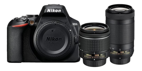 Nikon D3500 18-55mm VR + 70-300mm VR Kit DSLR cor preto