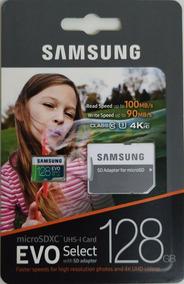 Cartão De Memória Samsung 128gb Evo Select U3 4k 100mb/s