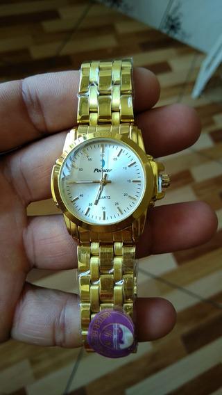 Relógio Pulso Feminino Dourado A Prova Dagua Frete Gratis