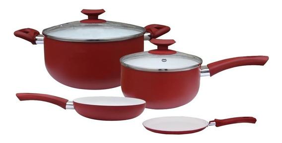 Set Bateria X4 Pzas Porcelana Rojo Cerámica Olla Sarten Tv