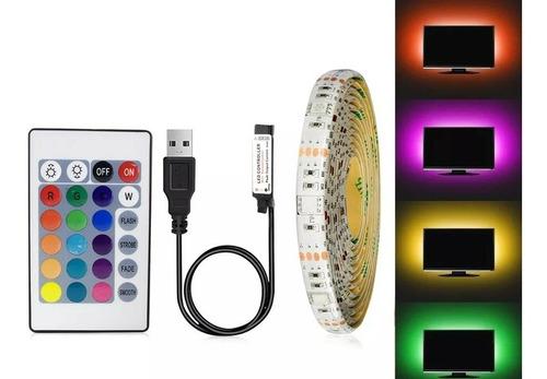 Cinta Led Adapter Usb Rgb 5 Metros Con Control24 Funciones