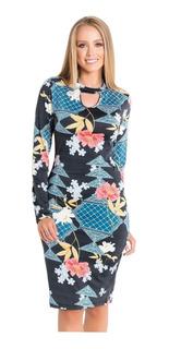 Vestido Tubinho Moda Evangélica Estampado Justo Blogueira