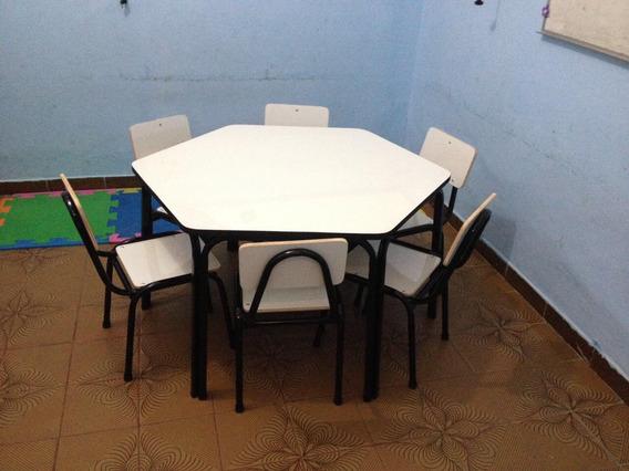 Conjunto Hexagonal Infantil Com 1 Mesa E 6 Cadeiras