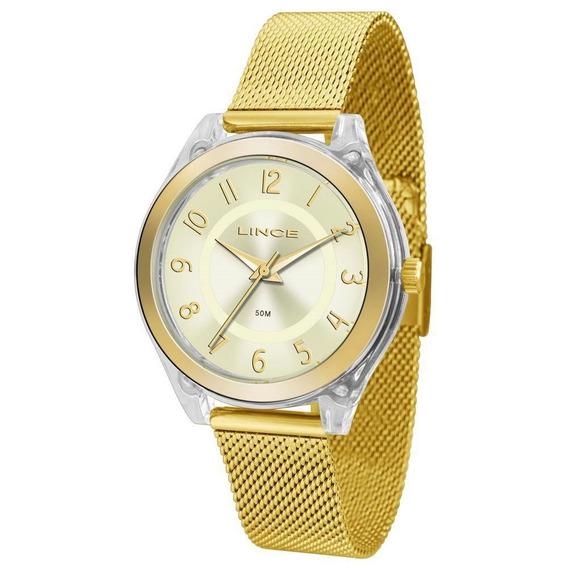 Relógio Feminino Lince Lrg4432p C2kx Acrílico Dourado