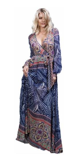 Maxi Vestido Ark & Co. Con Estampado Azul