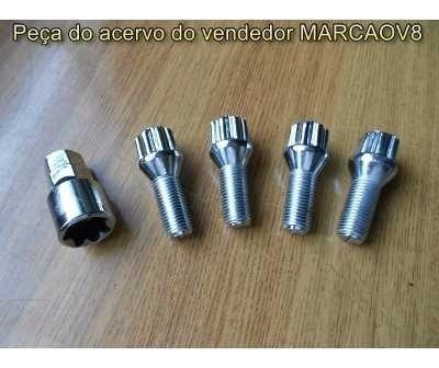 Jogo De Parafusos Cromado Anti Furto Fusca 4 Furos Brasilia