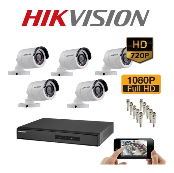 Kit Cftv Hikvision Turbo Camera Dvr Acessorios Monte O Seu