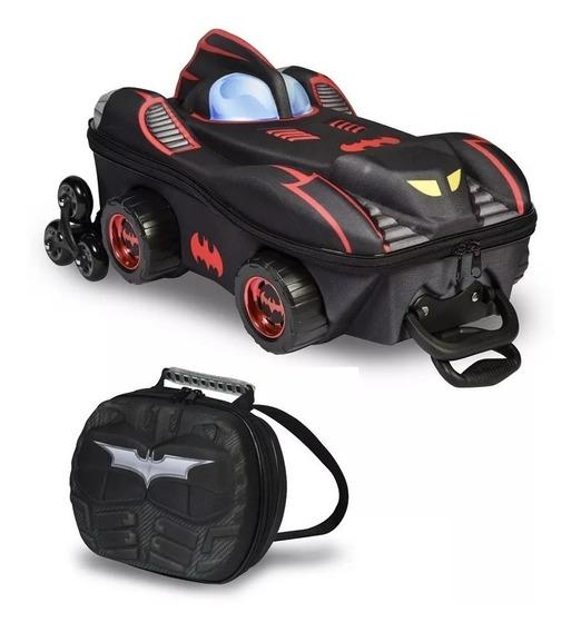 Kit Mochila Carro Do Batman 3d Com Lancheira - Maxtoy