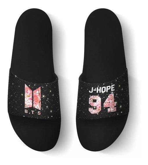 Chinelo Slide Beach Bts Army Logo Novo Kpop J-hope 94!!!