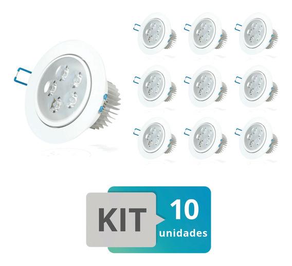 Kit 10 Spot Led Embutir Redondo Direcionável 5w Branco Quent